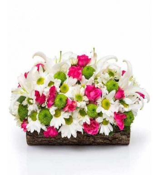 Ahşapta rengarenk KIr Çiçekleri