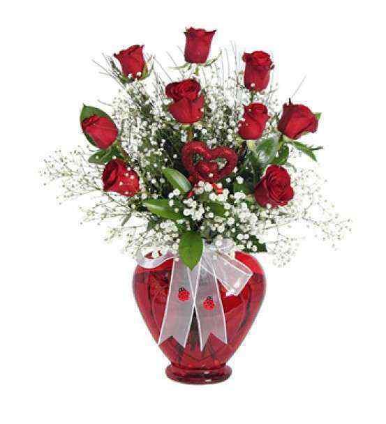 Kalpli Vazoda 9 Adet Kırmızı Gül